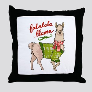 Falalala Llama Throw Pillow