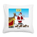 Wiener Dog Sleigh Square Canvas Pillow