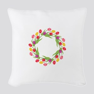 Tulips Wreath Woven Throw Pillow