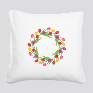 Tulips Wreath Square Canvas Pillow
