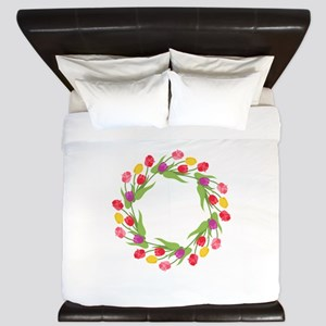 Tulips Wreath King Duvet
