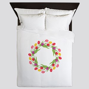 Tulips Wreath Queen Duvet