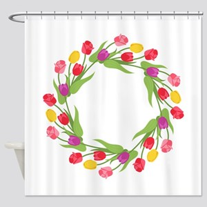 Tulips Wreath Shower Curtain