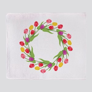 Tulips Wreath Throw Blanket