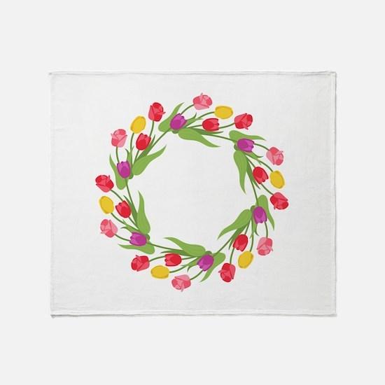 Tulips Wreath Throw Blanket