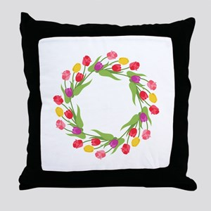 Tulips Wreath Throw Pillow