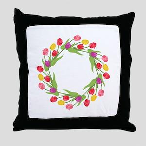 Tulips Wreath Throw Pillow