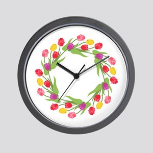 Tulips Wreath Wall Clock