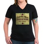 Over 40 Years Women's V-Neck Dark T-Shirt