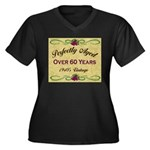 Over 60 Years Women's Plus Size V-Neck Dark T-Shir