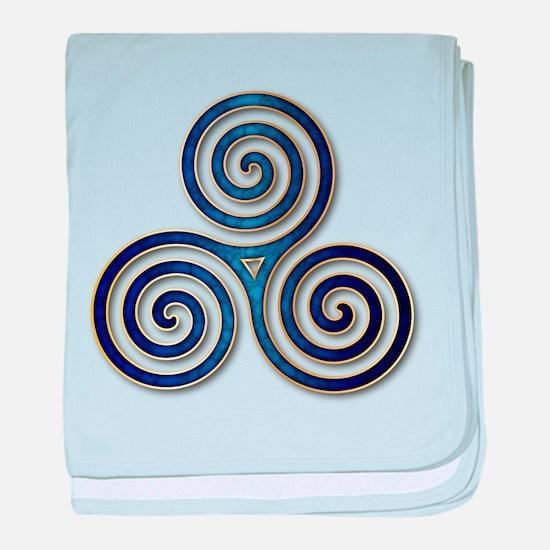 Celtic Triple Spiral in Deep Blue baby blanket