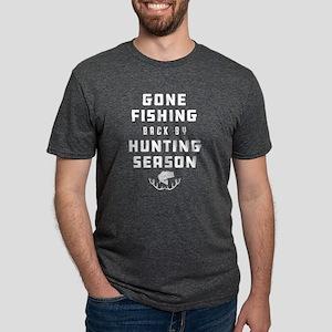 Gone Fishing Back By Huntin Mens Tri-blend T-Shirt
