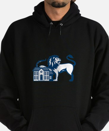 Angry Lion Paw on House Isolated Retro Hoodie