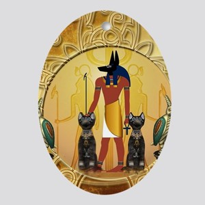 Anubis the god Oval Ornament