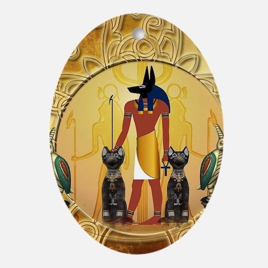 Anubis the god Oval Ornament