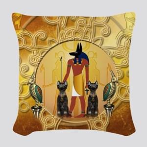 Anubis the god Woven Throw Pillow