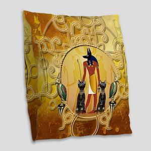 Anubis the god Burlap Throw Pillow
