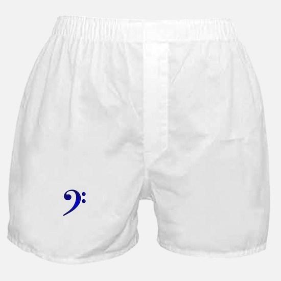 """Metallic"" Blue Bass Clef Boxer Shorts"