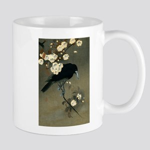 Vintage Japanese Crow and Blossom Woodblock P Mugs
