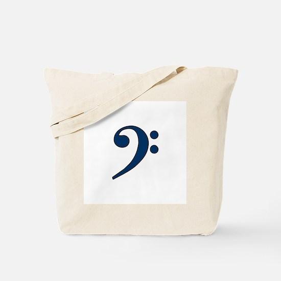 Dark Blue Bass Clef Tote Bag