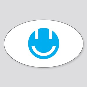 blue smile face clear Sticker (Oval)