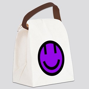 purple smile face black round Canvas Lunch Bag