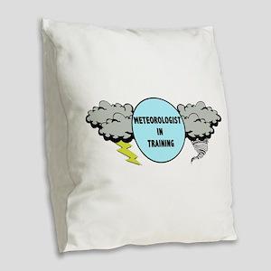 Meteorologist in Training Burlap Throw Pillow
