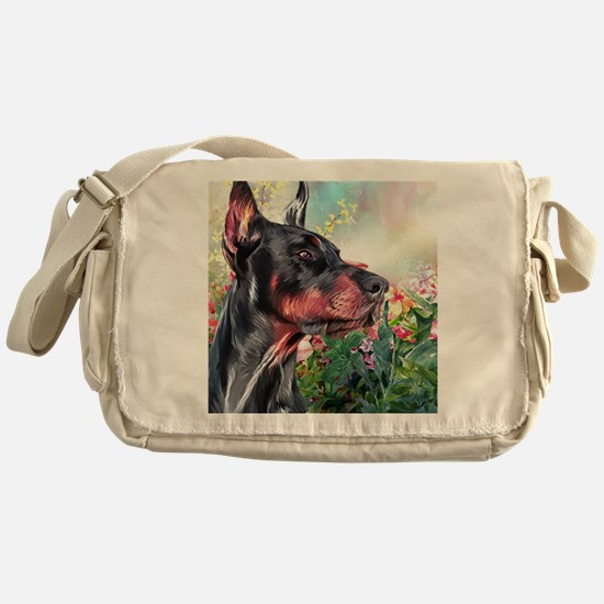 Doberman Painting Messenger Bag