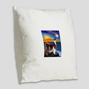 Llama Burlap Throw Pillow