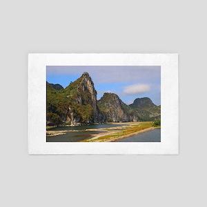 Mountains along Li River, China 4' x 6' Rug