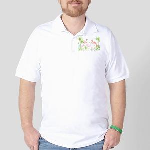 Watercolor Flamingo Family and Plam Tre Golf Shirt
