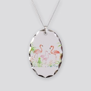 Watercolor Flamingo Family and Necklace Oval Charm