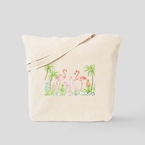 Watercolor Flamingo Family and Plam Trees Tote Bag
