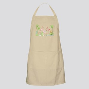 Watercolor Flamingo Family and Plam Trees Apron