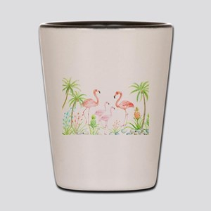 Watercolor Flamingo Family and Plam Tre Shot Glass