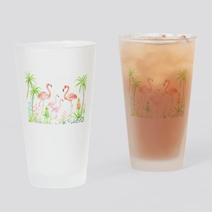 Watercolor Flamingo Family and Plam Drinking Glass