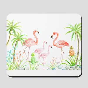 Watercolor Flamingo Family and Plam Tree Mousepad