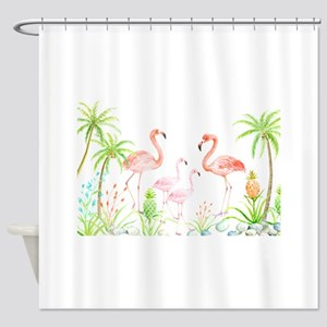 Watercolor Flamingo Family and Plam Shower Curtain