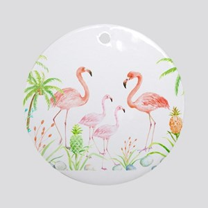 Watercolor Flamingo Family and Plam Round Ornament