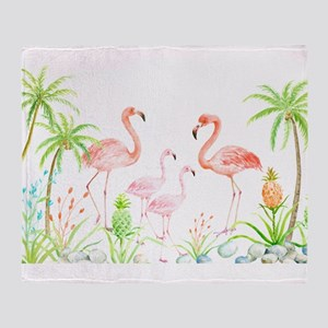 Watercolor Flamingo Family and Plam Throw Blanket