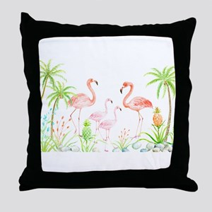 Watercolor Flamingo Family and Plam T Throw Pillow