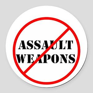No assault weapons, gun control Round Car Magnet