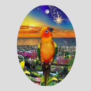 Sun Conure at Sunset Oval Ornament