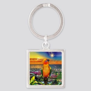 Sun Conure at Sunset Keychains