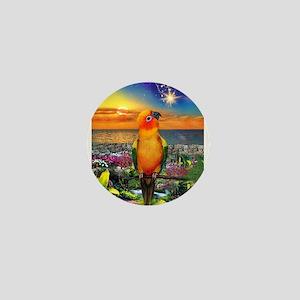 Sun Conure at Sunset Mini Button
