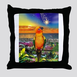 Sun Conure at Sunset Throw Pillow