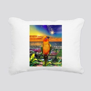 Sun Conure at Sunset Rectangular Canvas Pillow