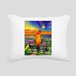 Sun Conure at Sunset Rectangular Canvas Pillow