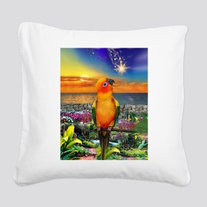 Sun Conure at Sunset Square Canvas Pillow