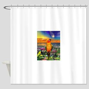 Sun Conure at Sunset Shower Curtain